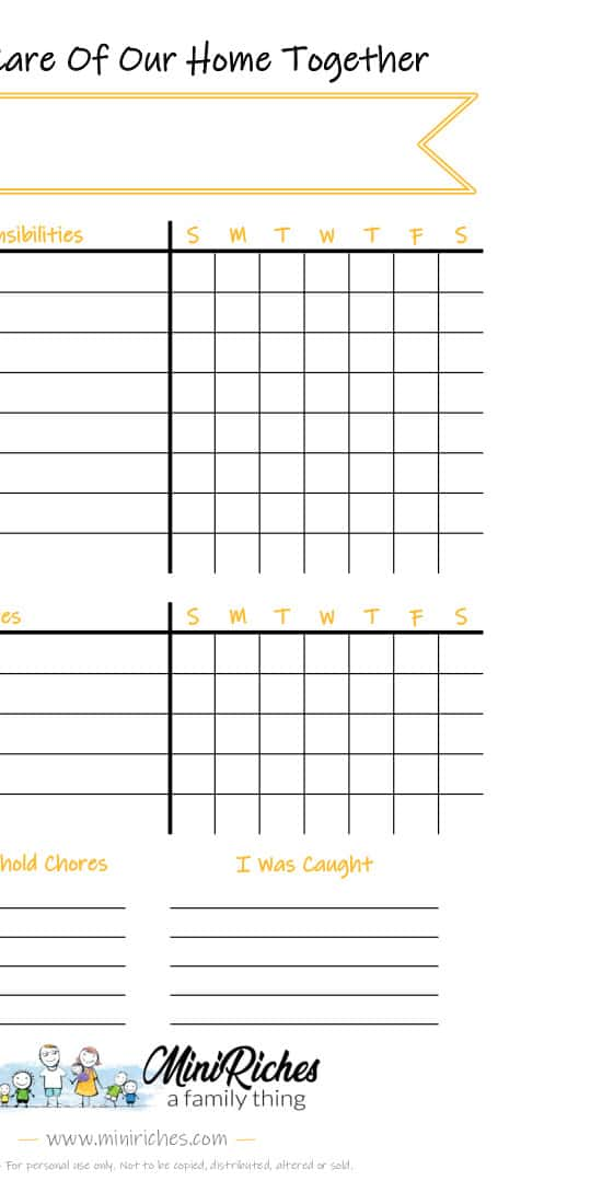 Image showing a sample of the blank chore chart printable.