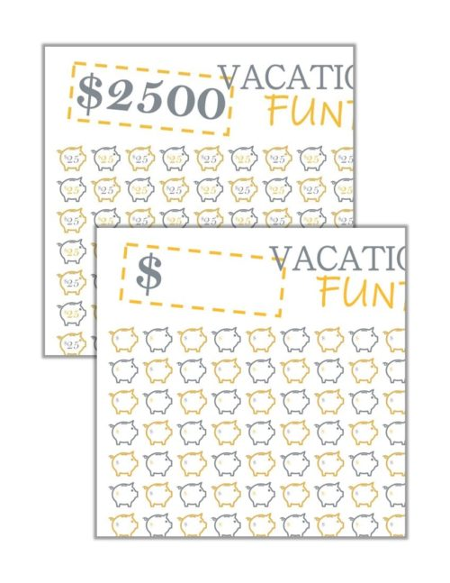 Combo image showing formatted vacation savings tracker and blank vacation savings tracker printable..