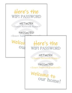 Combo image showing the WiFi password printable with yellow text, and with gray text.