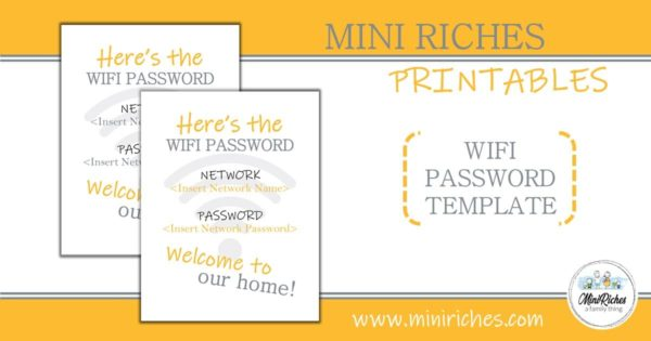 WiFi password template product showcase.