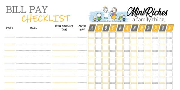 Image showing a sample of the bill pay checklist printable.