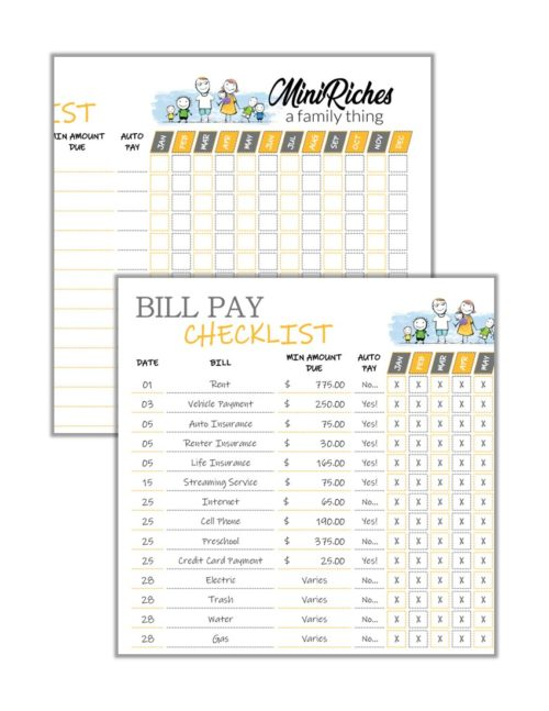 Combo image showing samples of blank and fillable form bill pay checklist.