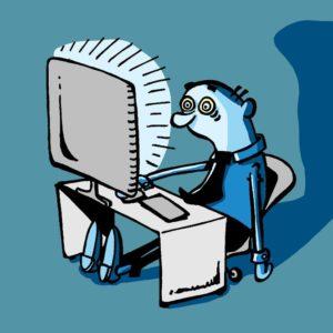 Mentally exhausted man staring at a bright computer screen.
