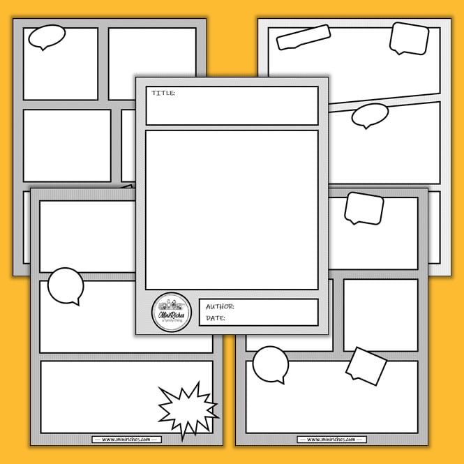 Multiple images showing a comic book template created by Mini Riches.