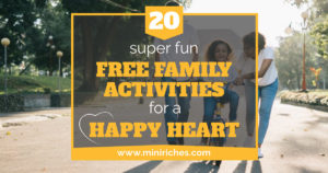 20 Super Fun Free Family Activities for a Happy Heart link share image for Facebook.