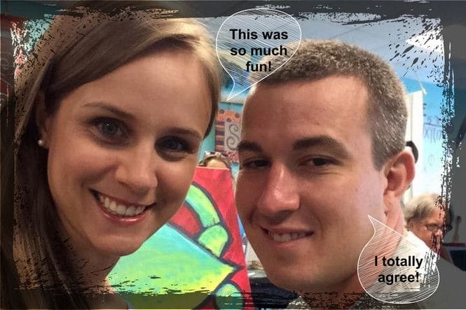 Joe and Angela's happy faces at a painting date night.