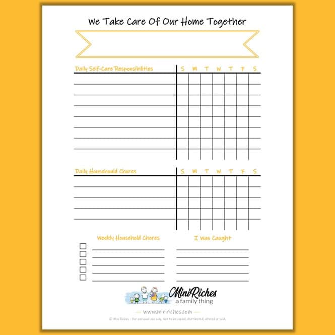 Product showcase showing blank Chore Chart Template created by Mini Riches LLC.