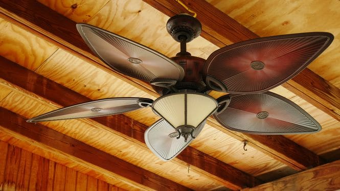 Ceiling fan with decorative blades and a light.