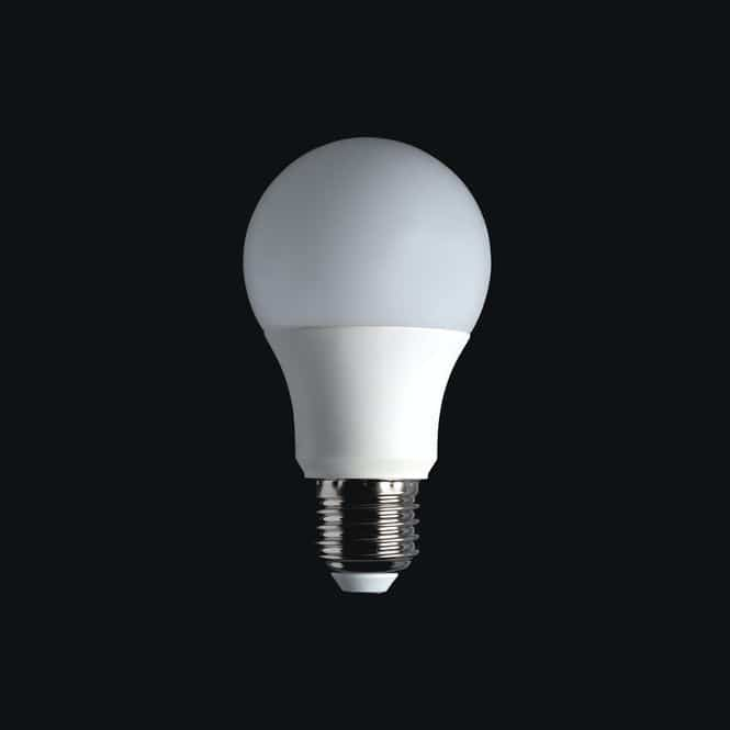 A photo of an LED bulb that can help save money on utilities while living in an apartment.