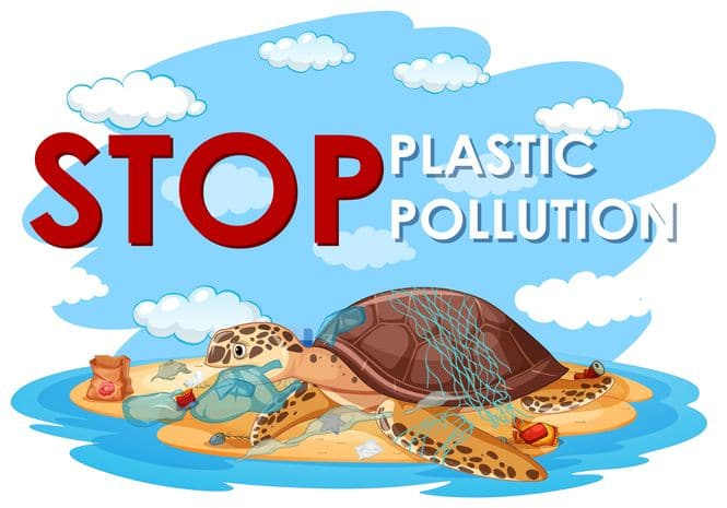 A sea turtle and plastic bags on beach with text saying stop plastic pollution.