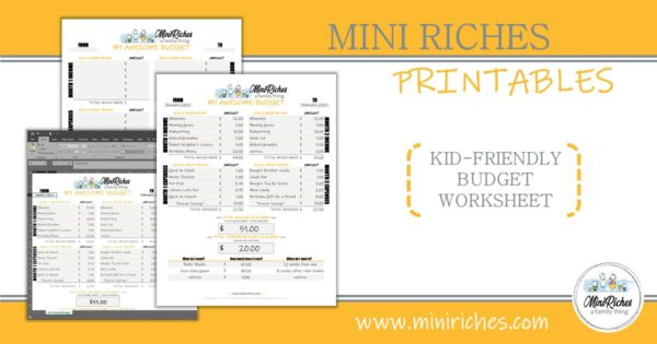 Showcase image for Kid-Friendly Budget Worksheet product.