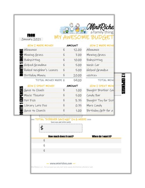 Product feature image for Kid-Friendly Budget Worksheet.