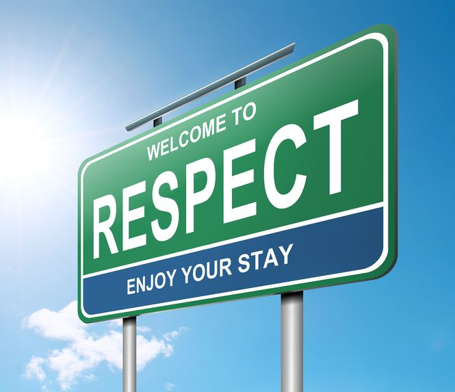 "Road sign saying, ""Welcome to respect. Enjoy your stay."""