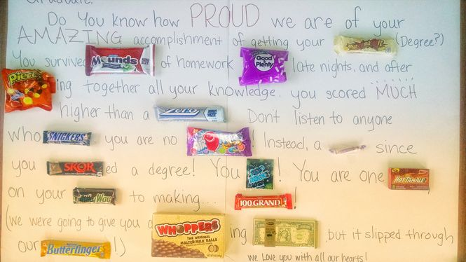 Make a child feel special on their birthday by making a candy poster. This is a picture of a message using candy bars to replace words here and there.