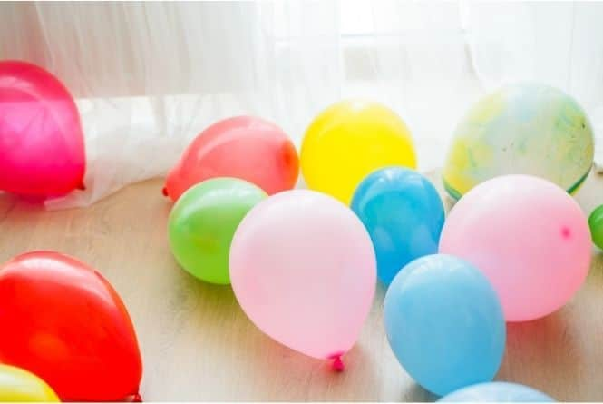 Make a child feel special on their birthday by filling the floor with balloons. This is a picture of colorful balloons on the floor.