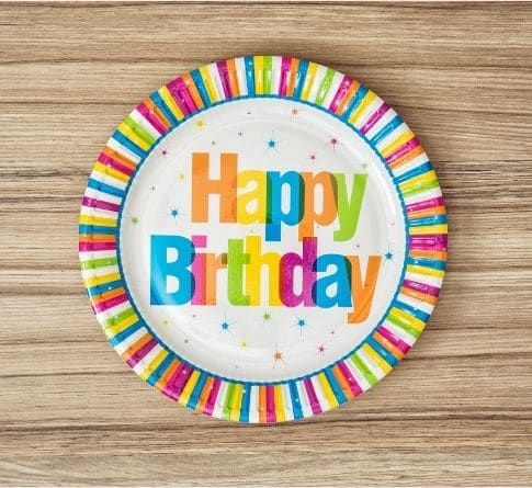 Make a child feel special on their birthday by using a birthday plate. This is a picture of a plate that has the words Happy Birthday on it.
