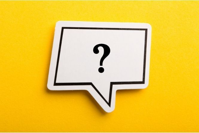 Do you have questions about leaving your child at home alone? This is a picture of a question mark in a callout buddle on a yellow background.