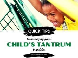Feature image for 8 Quick Tips to Managing Your Child's Temper Tantrum in Public post. The image is of a little boy screaming while holding onto a shopping with the post title on overlaid.